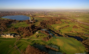 Heaton Park Prestwich Lancashire at night aerial photograph