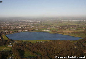 Heaton Park Reservoir  Prestwich Lancashire at night aerial photograph