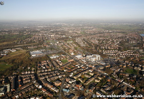 Prestwich Lancashire at night aerial photograph