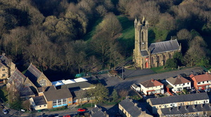 St Andrew's Church, Ramsbottom Lancashire from the air