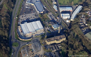 New Hall Hey Retail Park Rawtenstall  Lancashire from the air