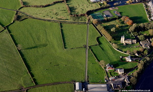 archaeology near Ribchester Roman Fort from the air