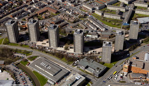 Seven Sisters tower blocks in , Rochdale from the air