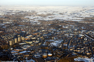 Rochdale covered in snow  from the air