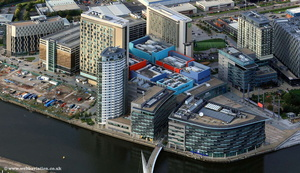 MediaCityUK at Salford Quays  including the new BBC studios aerial photograph