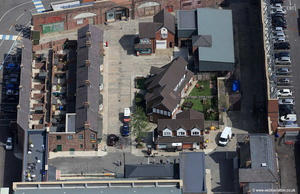 "TV studios set in Salford Quays where they film the tv program "" Coronation Street "" aerial photograph"