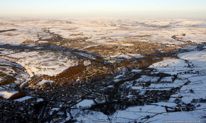 Bacup in the snow from the air