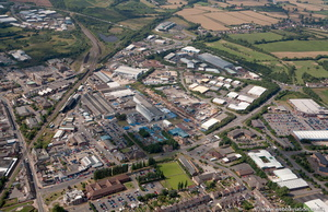 Stephenson Industrial Estate and Hermitage Industrial Estate, Coalville from the air