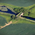 Longore Bridge on the Grantham Canal Leicestershire   from the air