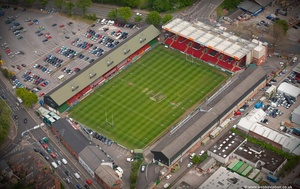 Welford Road Rugby Stadium, Leicester, home to Leicester Tigers Rugby Club  from the air