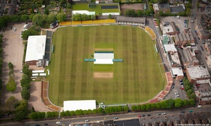 Fischer County Ground, Grace Road cricket ground in Leicester, England UK , home to Leicestershire County Cricket Club.aerial photograph