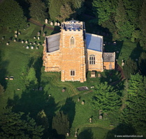 Medieval All Saints Church in  Lowesby Leicestershire  aerial photograph