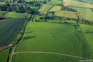 Ridge and furrow field patterns Leicestershire  aerial photograph