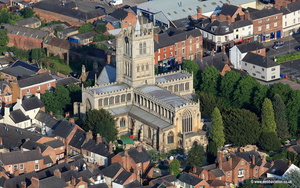 Medieval St Mary's Church, Melton Mowbray aerial photograph