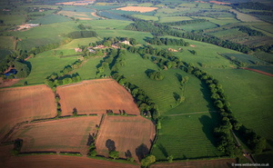 Quenby Park showing the area once occupied by the medieval village of Quenby aerial photograph