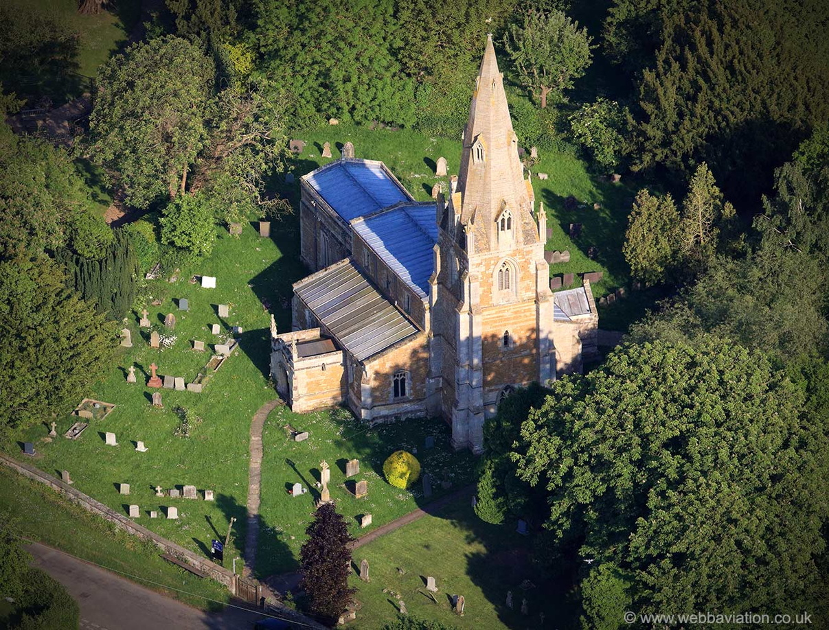 St John the Baptist Muston Leicestershire   from the air