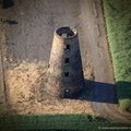 disused  Thompson's Mill windmill in Epworth Lincolnshire from the air