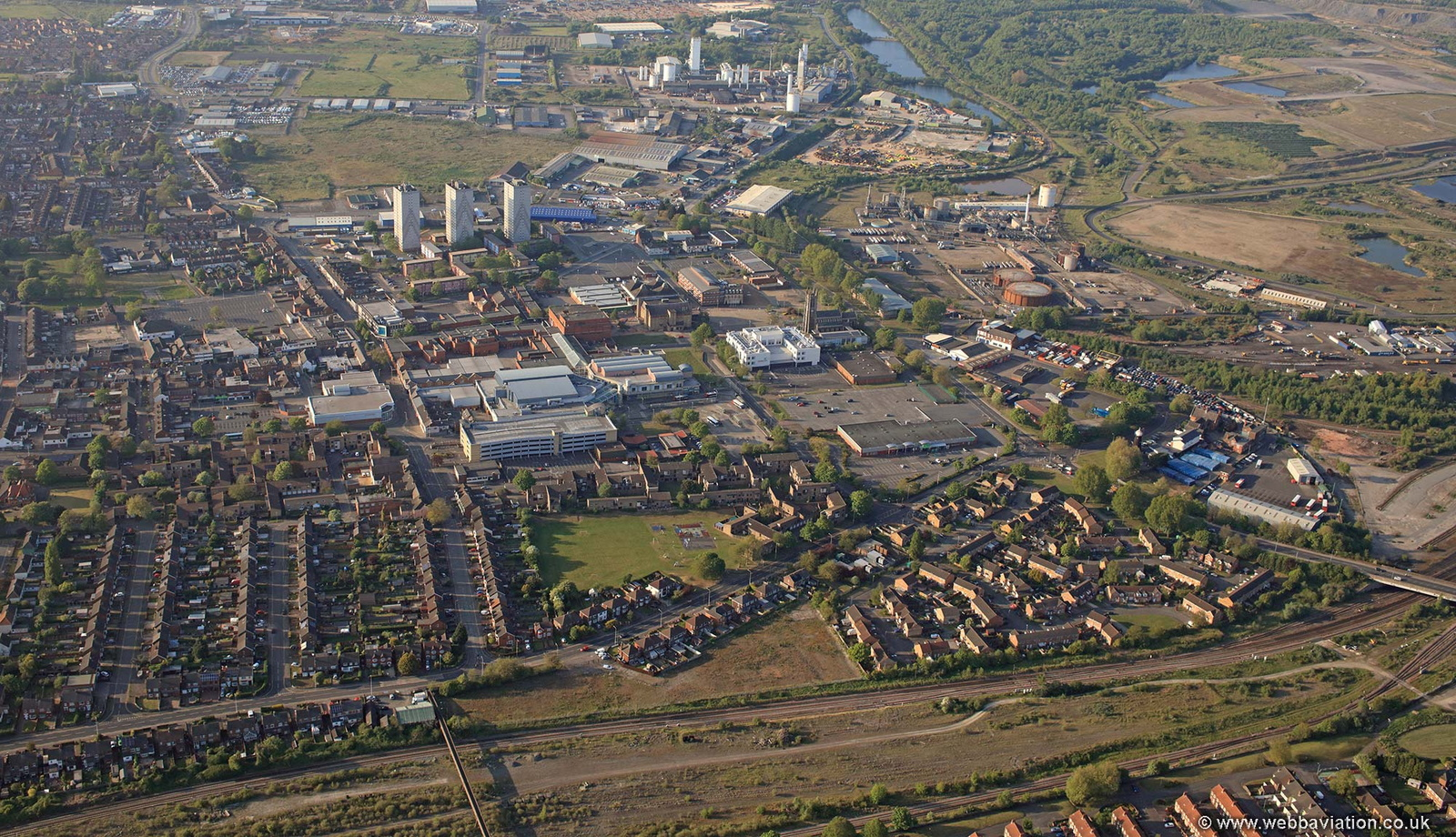 Scunthorpe town centre from the air
