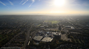 dawn breaks on another shopping day - Brent Cross Shopping Centre  London  aerial photo