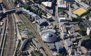 Chalk Farm ,  Primrose Hill railway station & The  Roundhouse  from the air
