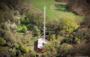 transmitter antenna on Hampstead Heath  London from the air