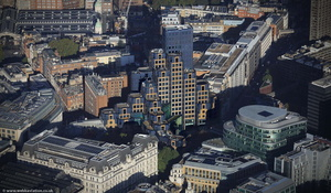 Aldersgate Street  in  City of London England UK aerial photograph
