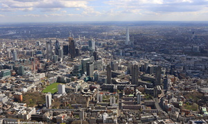 City of  London with the Barbican Estate in the foreground from the air