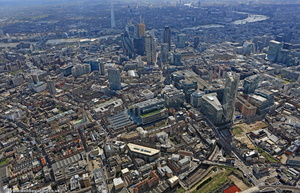 City of  London showing Bishopsgate  and Spitalfields from the air