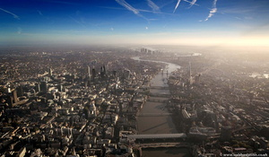 the River Thames and the City of London at Dawn England UK aerial photograph