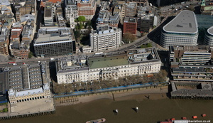 the River Thames and the City of London England UK aerial photograph