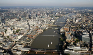 River Thames  London England UK aerial photograph