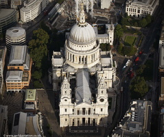 St Paul's Cathedral in the City of London England UK aerial photograph