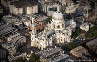 St Paul's Cathedral  London England UK aerial photograph
