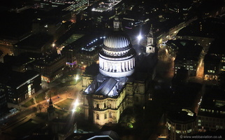 St Paul's Cathedral at night   from the air