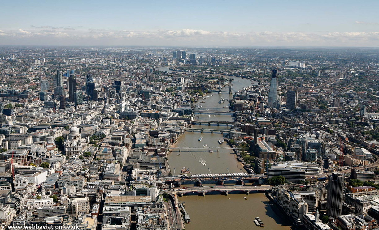 central  London looking along the River Thames  from the air