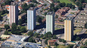 Ponders End flats, Alma Estate,  Enfield  from the air