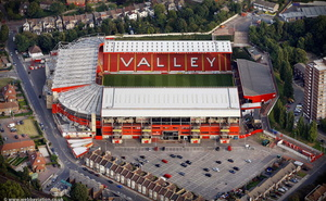 the Valley Stadium home of Charlton Athletic Football Club London England UK aerial photograph