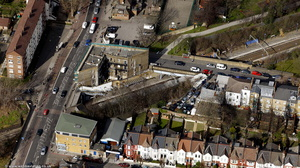 Clapton railway station Hackney London  from the air
