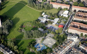 Kingsmead Primary School Hackney London from the air