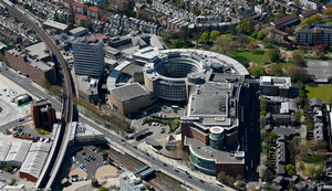 the former BBC Television Centre in the London Borough of Hammersmith and Fulham London England UK aerial photograph