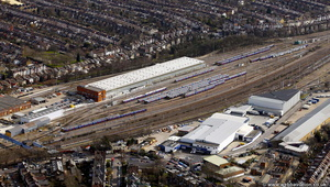Hornsey Traction Maintenance depot / TMD  London England UK aerial photograph