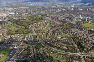 The Roundway Wood Green, London from the air