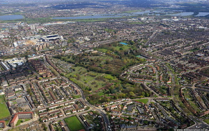 Tottenham Cemetery, London from the air