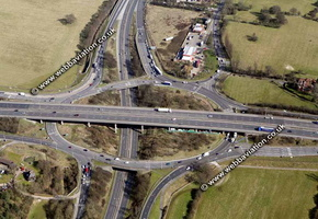 Colchester rd Junction of the M25 Motorway in  Havering  London England UK aerial photograph