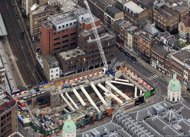 Farringdon Station Eastern ticket hall Crossrail works  from the air