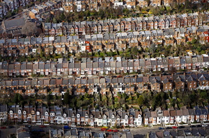 rows of terraced houses in Islington London from the air