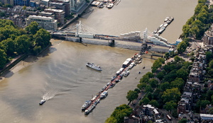 Albert Bridge, London taken during the refurbishment works in 2011 from the air