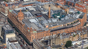 Harrods department store  Knightsbridge London from the air