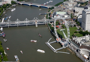 Millennium Wheel on the Thames from the air