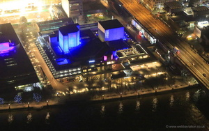 the National Theatre London at night from the air